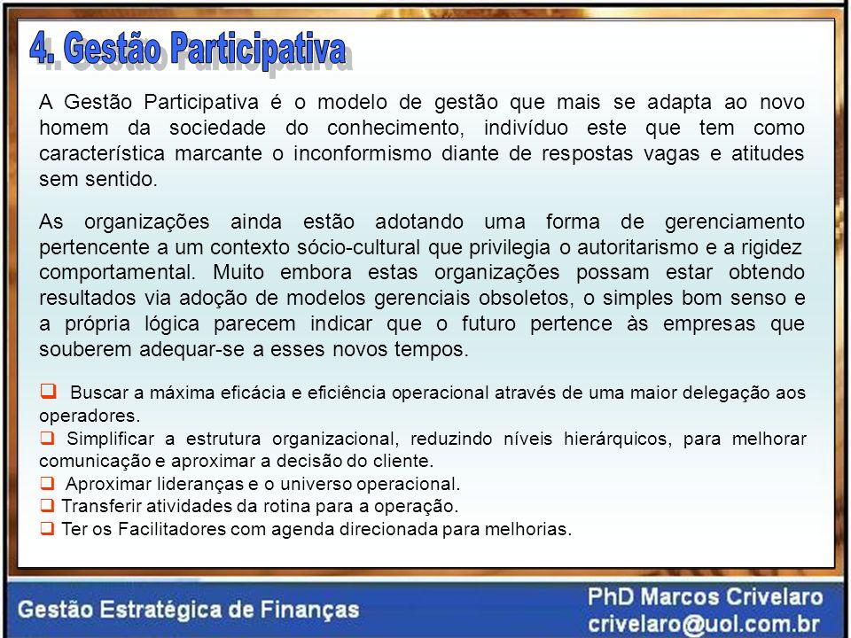 A Gestão Participativa é o modelo de gestão que mais se adapta ao novo homem da sociedade do conhecimento, indivíduo este que tem como característica