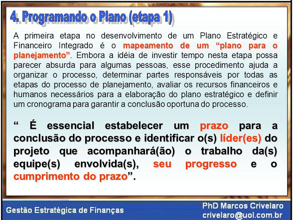 mapeamento de um plano para o planejamento A primeira etapa no desenvolvimento de um Plano Estratégico e Financeiro Integrado é o mapeamento de um plano para o planejamento.