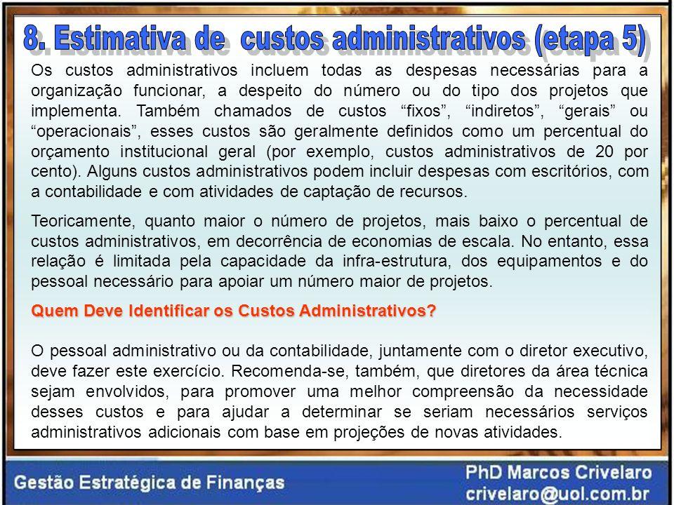 Os custos administrativos incluem todas as despesas necessárias para a organização funcionar, a despeito do número ou do tipo dos projetos que implementa.