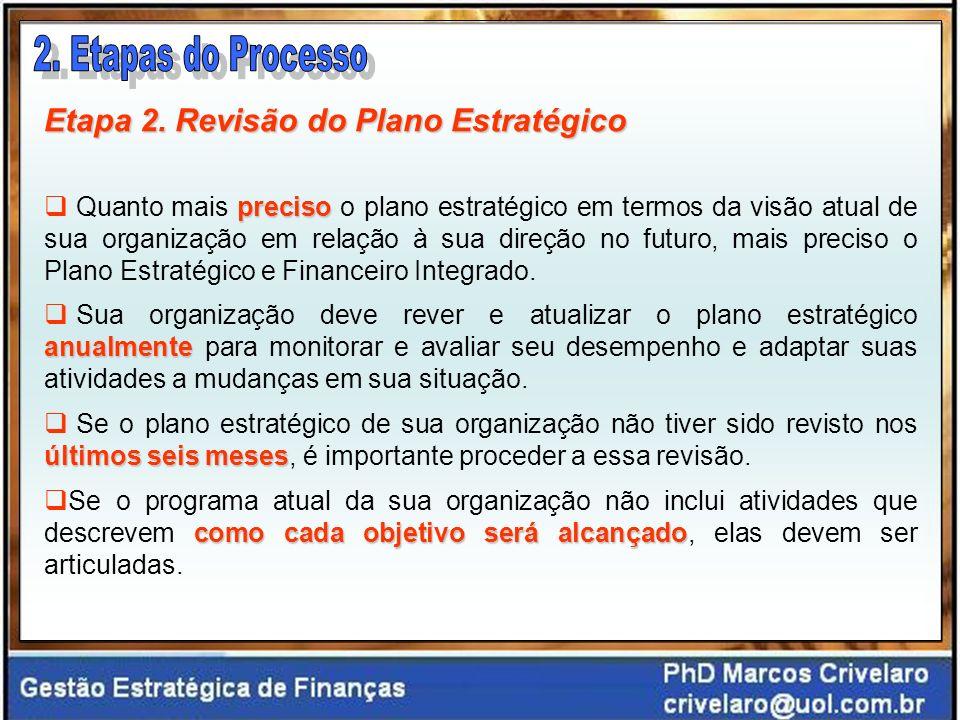 Processo Sistemático Essa integração entre o plano estratégico e o financeiro representa um componente essencial do processo de planejamento estratégico e permite uma melhor determinação da viabilidade do plano e das futuras necessidades financeiras da organização.