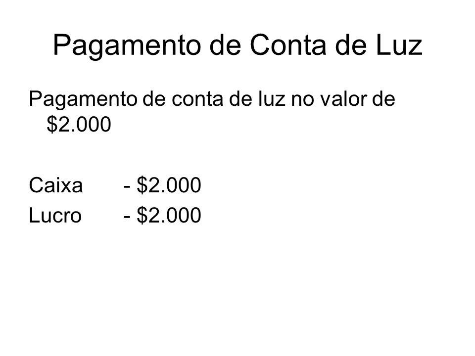 Pagamento de Conta de Luz Pagamento de conta de luz no valor de $2.000 Caixa- $2.000 Lucro- $2.000