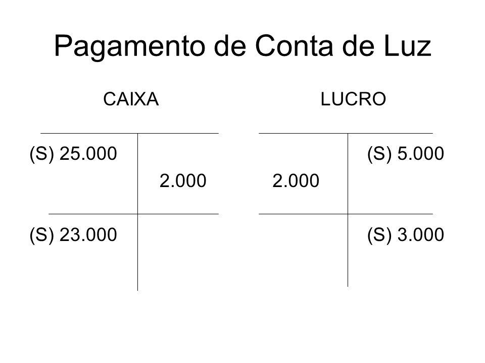 Pagamento de Conta de Luz CAIXA (S) 25.000 2.000 (S) 23.000 LUCRO (S) 5.000 2.000 (S) 3.000