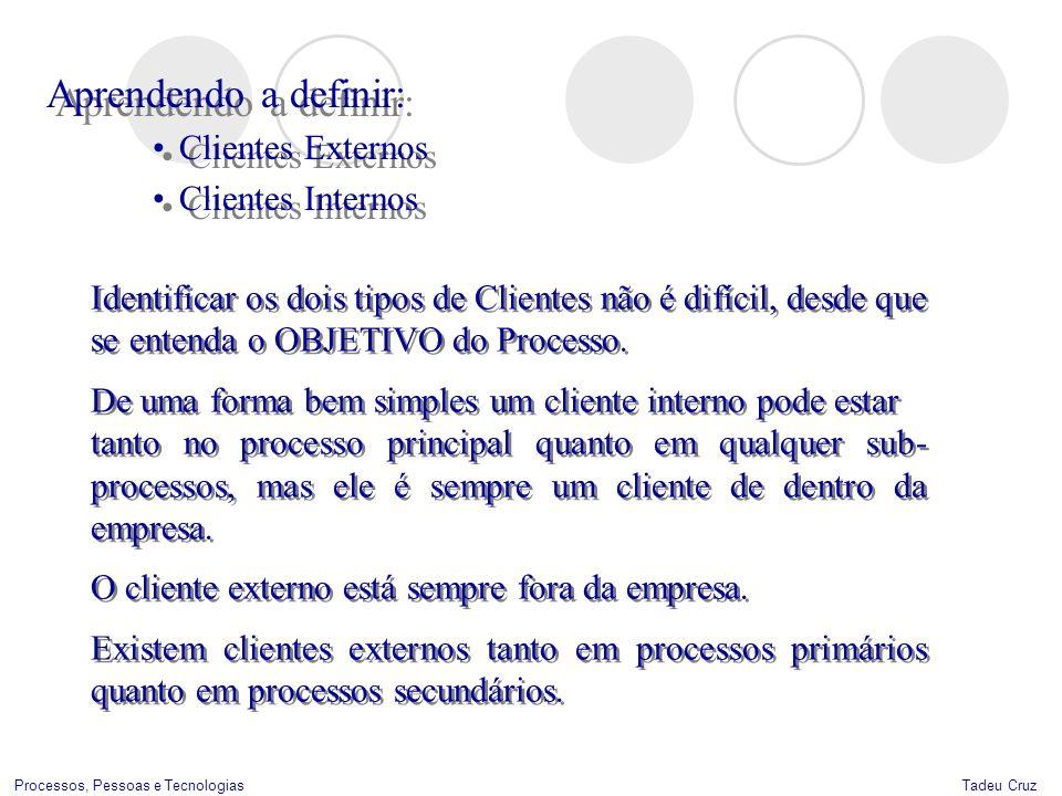 Tadeu CruzProcessos, Pessoas e Tecnologias Aprendendo a definir: Clientes Externos Clientes Internos Aprendendo a definir: Clientes Externos Clientes