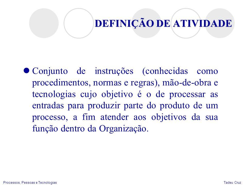 Tadeu CruzProcessos, Pessoas e Tecnologias DEFINIÇÃO DE ATIVIDADE Conjunto de instruções (conhecidas como procedimentos, normas e regras), mão-de-obra