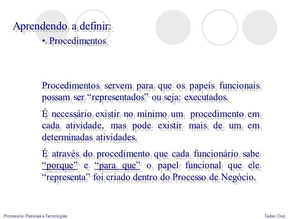 Tadeu CruzProcessos, Pessoas e Tecnologias Aprendendo a definir : Procedimentos Aprendendo a definir : Procedimentos Procedimentos servem para que os