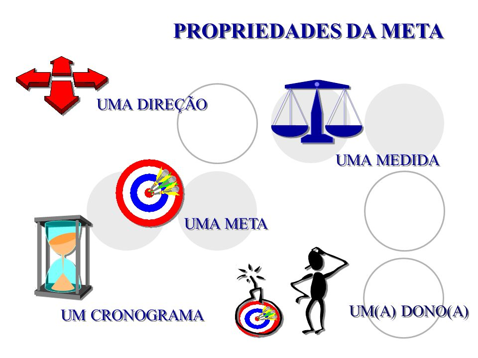 PROPRIEDADES DA META UMA DIREÇÃO UMA MEDIDA UM CRONOGRAMA UM(A) DONO(A) UMA META