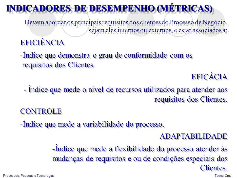 Tadeu CruzProcessos, Pessoas e Tecnologias INDICADORES DE DESEMPENHO (MÉTRICAS) Devem abordar os principais requisitos dos clientes do Processo de Neg