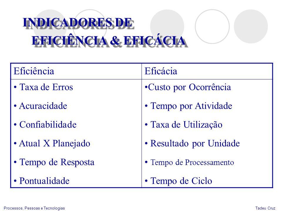 Tadeu CruzProcessos, Pessoas e Tecnologias INDICADORES DE EFICIÊNCIA & EFICÁCIA INDICADORES DE EFICIÊNCIA & EFICÁCIA EficiênciaEficácia Taxa de Erros
