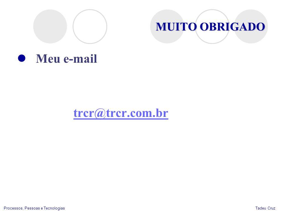 Tadeu CruzProcessos, Pessoas e Tecnologias MUITO OBRIGADO Meu e-mail trcr@trcr.com.br