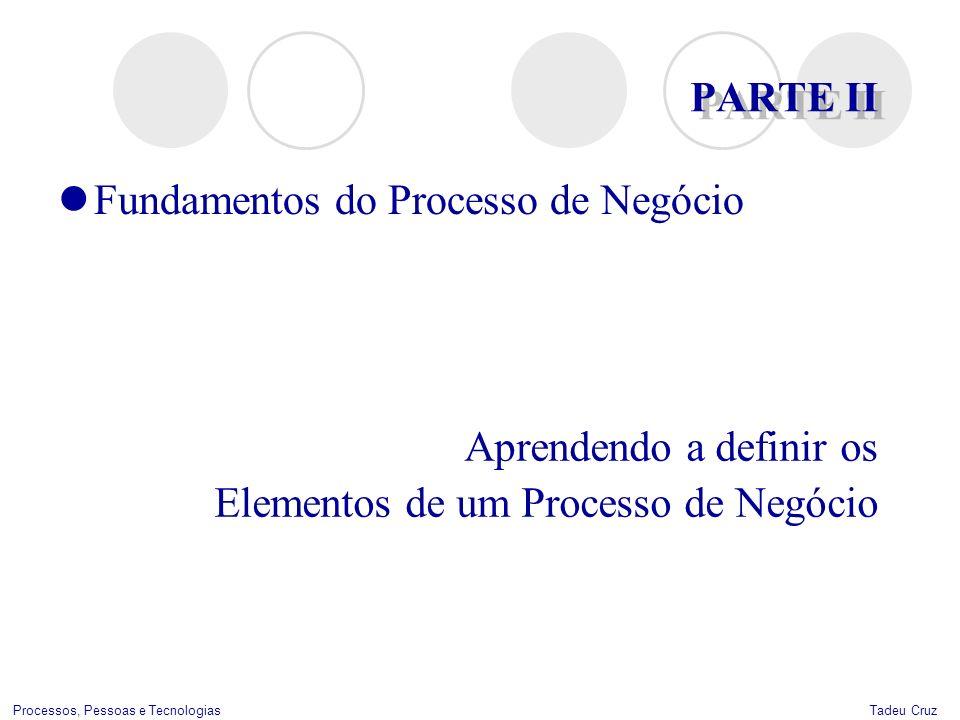 Tadeu CruzProcessos, Pessoas e Tecnologias PARTE II Aprendendo a definir os Elementos de um Processo de Negócio Fundamentos do Processo de Negócio