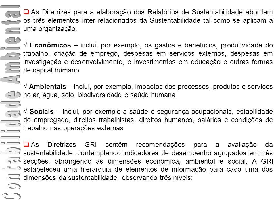 As Diretrizes para a elaboração dos Relatórios de Sustentabilidade abordam os três elementos inter-relacionados da Sustentabilidade tal como se aplica