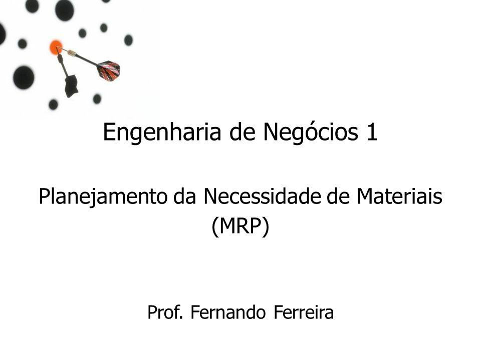 Engenharia de Negócios 1 Planejamento da Necessidade de Materiais (MRP) Prof. Fernando Ferreira