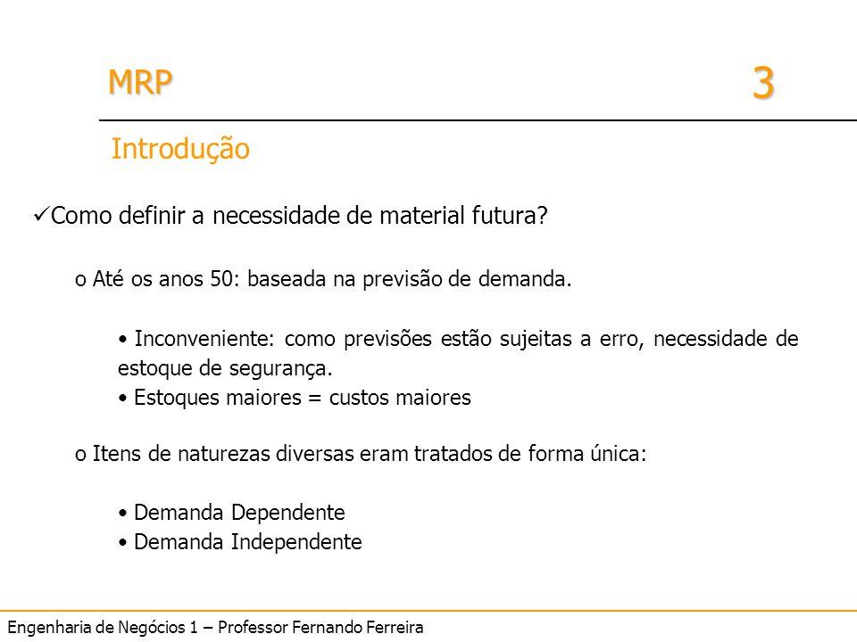 Engenharia de Negócios 1 – Professor Fernando Ferreira 3 MRPMRP Introdução Como definir a necessidade de material futura? o Até os anos 50: baseada na