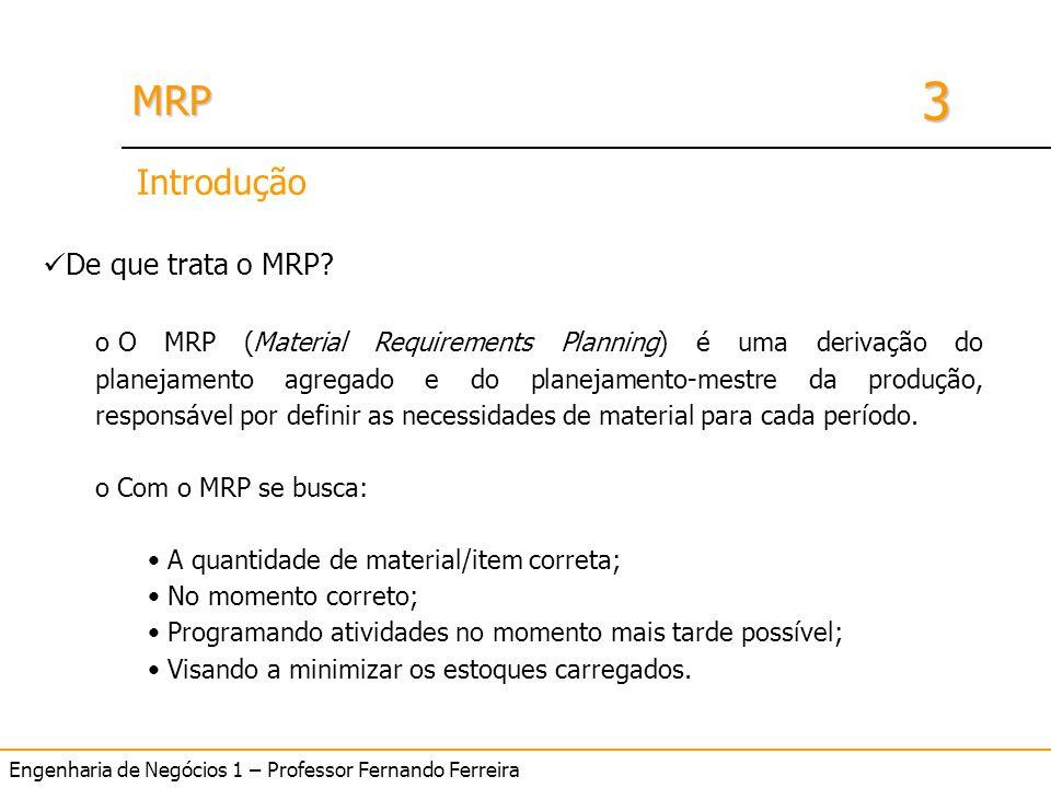 Engenharia de Negócios 1 – Professor Fernando Ferreira 3 MRPMRP Introdução De que trata o MRP? o O MRP (Material Requirements Planning) é uma derivaçã