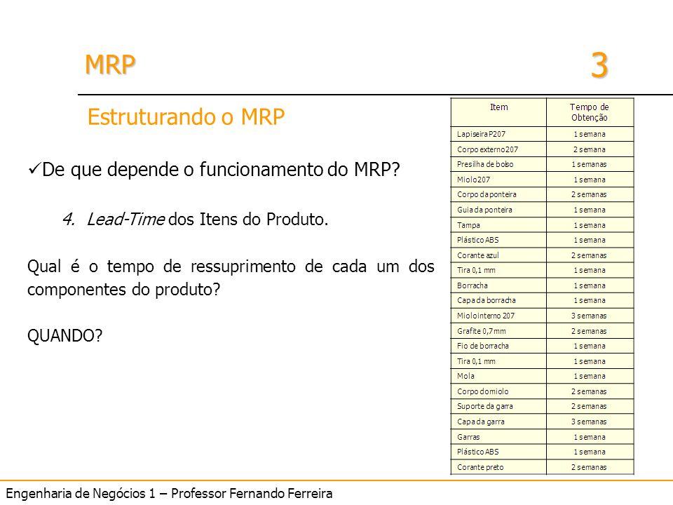 Engenharia de Negócios 1 – Professor Fernando Ferreira 3 MRPMRP De que depende o funcionamento do MRP? 4.Lead-Time dos Itens do Produto. Qual é o temp