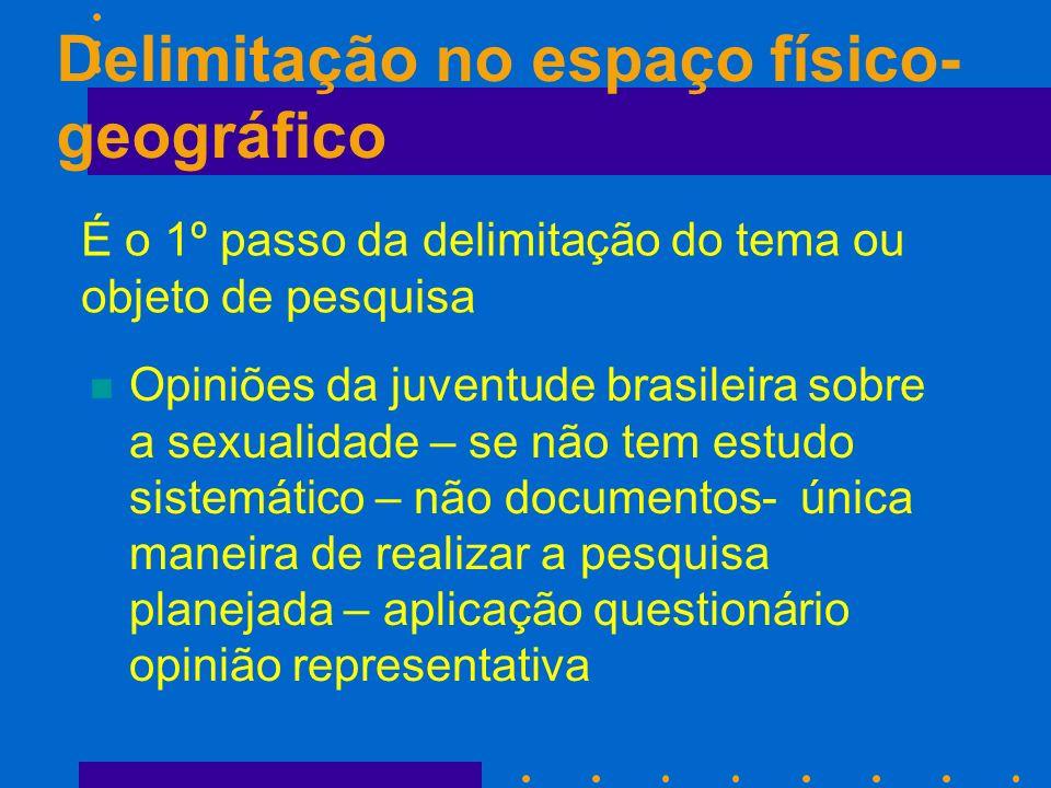 Delimitação no espaço físico- geográfico n Opiniões da juventude brasileira sobre a sexualidade – se não tem estudo sistemático – não documentos- únic