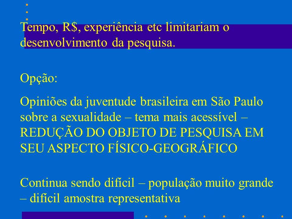 Tempo, R$, experiência etc limitariam o desenvolvimento da pesquisa. Opção: Opiniões da juventude brasileira em São Paulo sobre a sexualidade – tema m