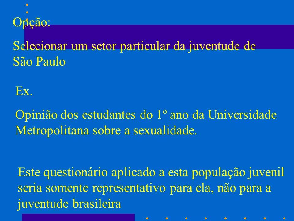 Opção: Selecionar um setor particular da juventude de São Paulo Ex. Opinião dos estudantes do 1º ano da Universidade Metropolitana sobre a sexualidade