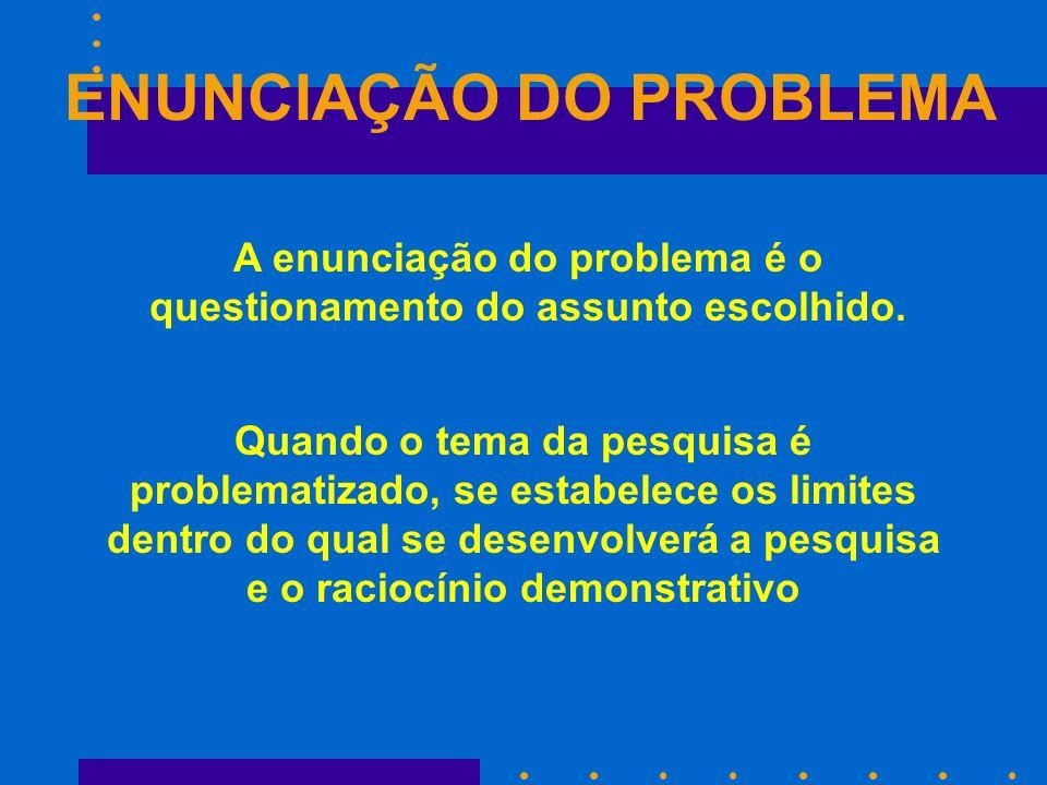 ENUNCIAÇÃO DO PROBLEMA A enunciação do problema é o questionamento do assunto escolhido. Quando o tema da pesquisa é problematizado, se estabelece os