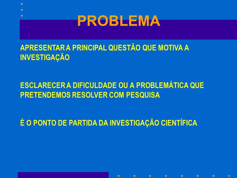 PROBLEMA APRESENTAR A PRINCIPAL QUESTÃO QUE MOTIVA A INVESTIGAÇÃO ESCLARECER A DIFICULDADE OU A PROBLEMÁTICA QUE PRETENDEMOS RESOLVER COM PESQUISA É O