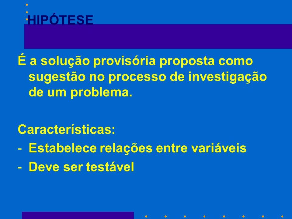 É a solução provisória proposta como sugestão no processo de investigação de um problema. Características: -Estabelece relações entre variáveis -Deve