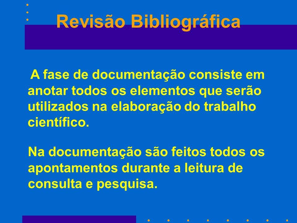 Revisão Bibliográfica A fase de documentação consiste em anotar todos os elementos que serão utilizados na elaboração do trabalho científico. Na docum