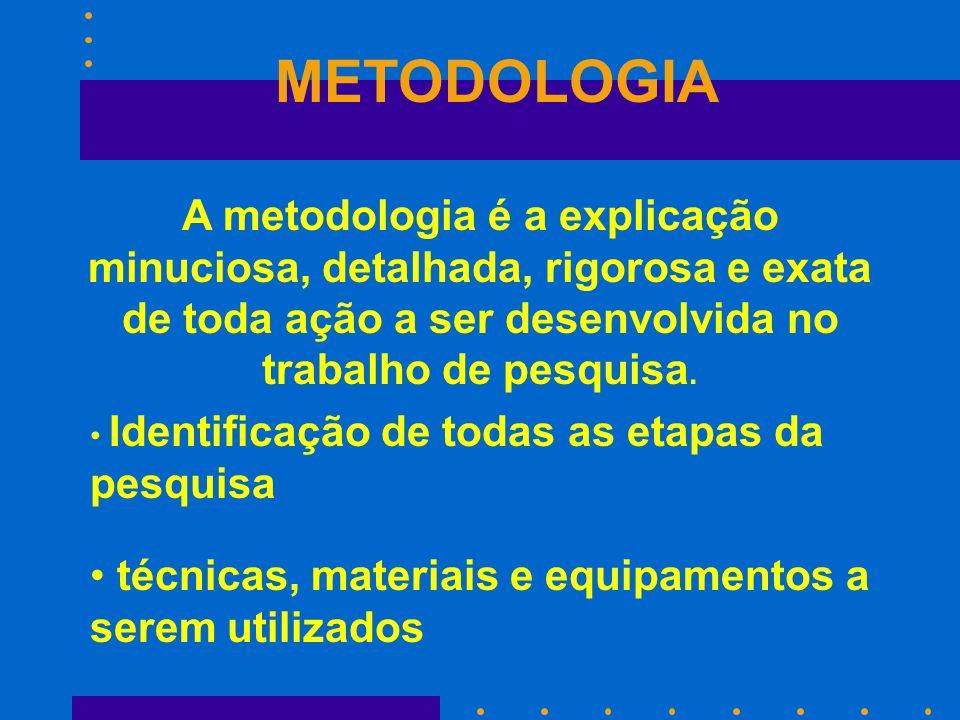 METODOLOGIA A metodologia é a explicação minuciosa, detalhada, rigorosa e exata de toda ação a ser desenvolvida no trabalho de pesquisa. Identificação