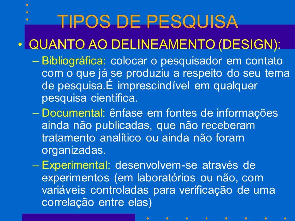 TIPOS DE PESQUISA QUANTO AO DELINEAMENTO (DESIGN): –Bibliográfica: colocar o pesquisador em contato com o que já se produziu a respeito do seu tema de