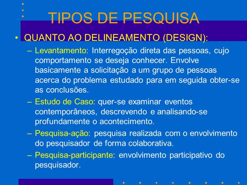 TIPOS DE PESQUISA QUANTO AO DELINEAMENTO (DESIGN): –Levantamento: Interregoção direta das pessoas, cujo comportamento se deseja conhecer. Envolve basi