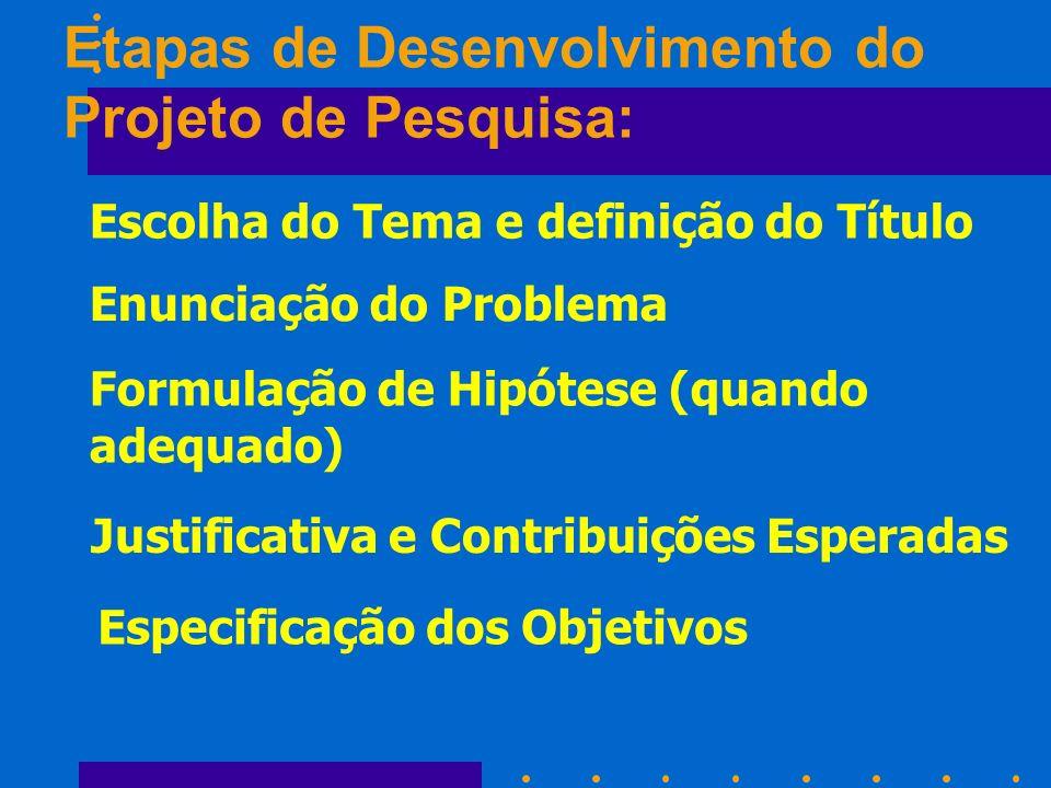 Escolha do Tema e definição do Título Enunciação do Problema Especificação dos Objetivos Justificativa e Contribuições Esperadas Formulação de Hipótes