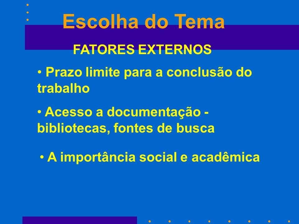 FATORES EXTERNOS Escolha do Tema Prazo limite para a conclusão do trabalho Acesso a documentação - bibliotecas, fontes de busca A importância social e