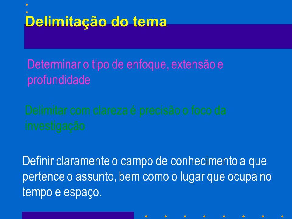 Delimitação no espaço físico- geográfico n Opiniões da juventude brasileira sobre a sexualidade – se não tem estudo sistemático – não documentos- única maneira de realizar a pesquisa planejada – aplicação questionário opinião representativa É o 1º passo da delimitação do tema ou objeto de pesquisa