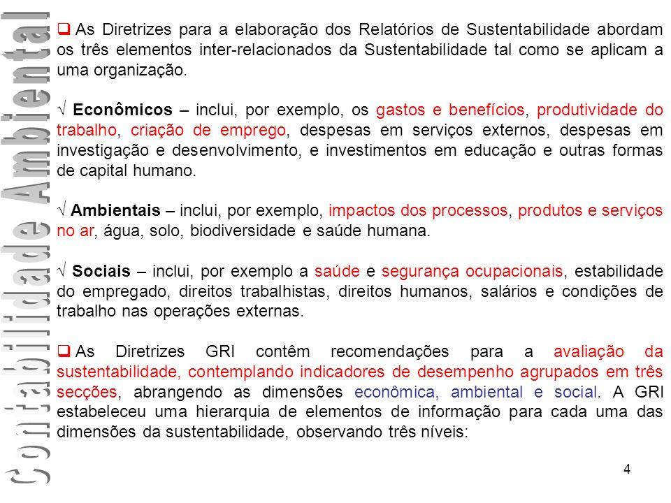 4 As Diretrizes para a elaboração dos Relatórios de Sustentabilidade abordam os três elementos inter-relacionados da Sustentabilidade tal como se apli