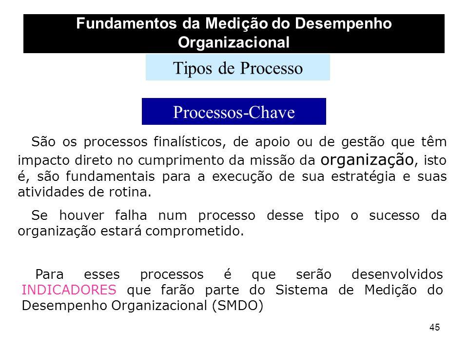 45 Fundamentos da Medição do Desempenho Organizacional Tipos de Processo Processos-Chave São os processos finalísticos, de apoio ou de gestão que têm
