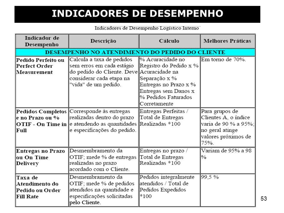53 INDICADORES DE DESEMPENHO