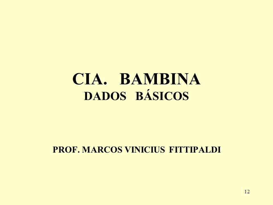 12 CIA. BAMBINA DADOS BÁSICOS PROF. MARCOS VINICIUS FITTIPALDI