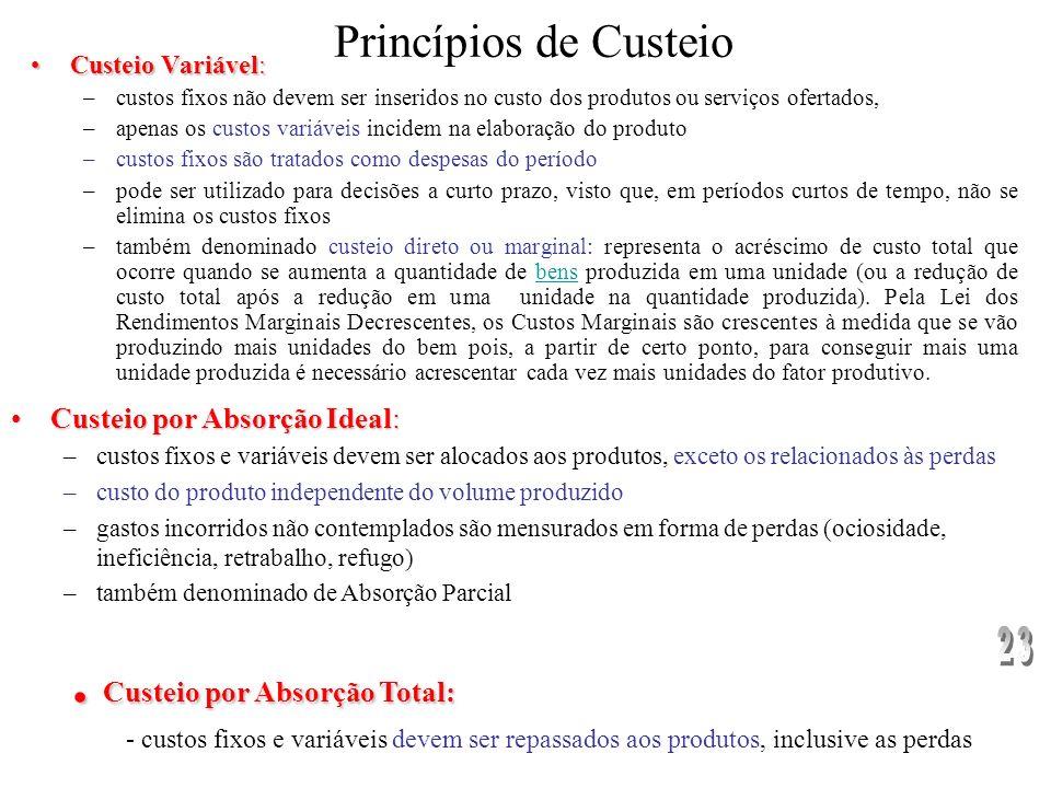 Enfatizam-se os sistemas de custeio, surgindo o conceito de custo-meta ou custo- alvo Sistemas de custeio: –Métodos de Custeio (alocação dos custos) –