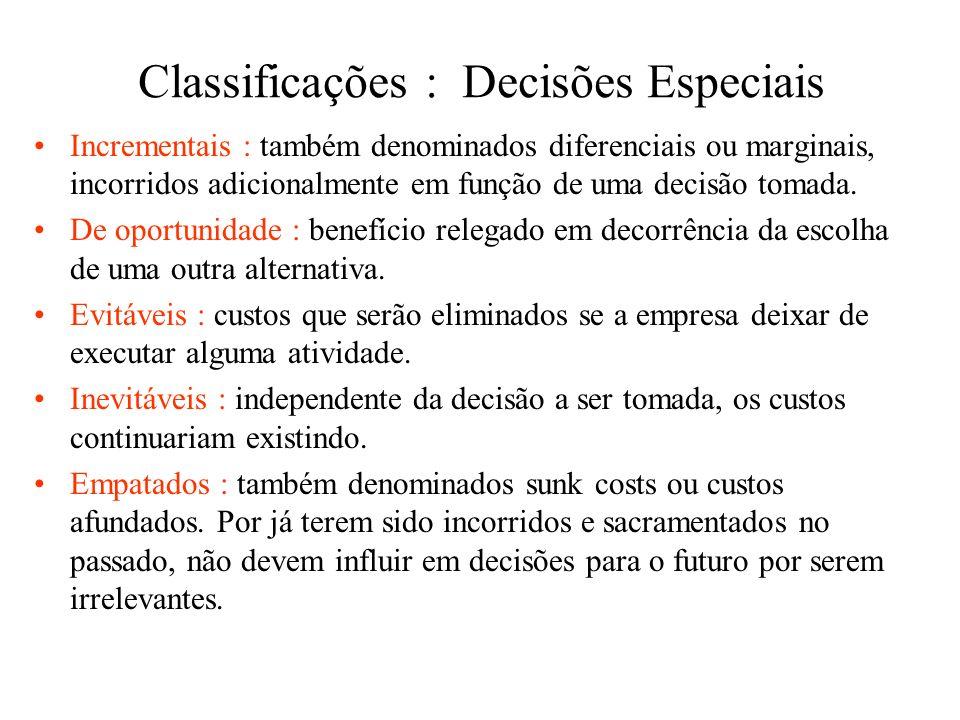 Classificações : Controle Controláveis : quando podem ser controlados por uma pessoa, dentro de uma escala hierárquica pré-definida. O responsável pod