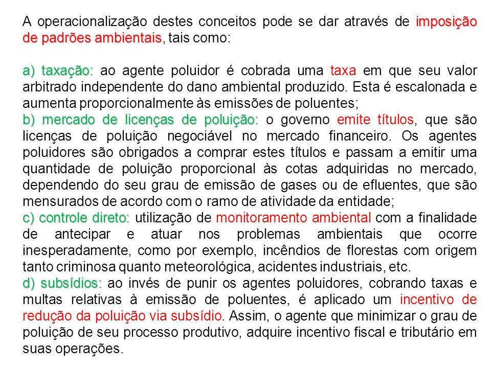 imposição de padrões ambientais A operacionalização destes conceitos pode se dar através de imposição de padrões ambientais, tais como: a) taxação: a)