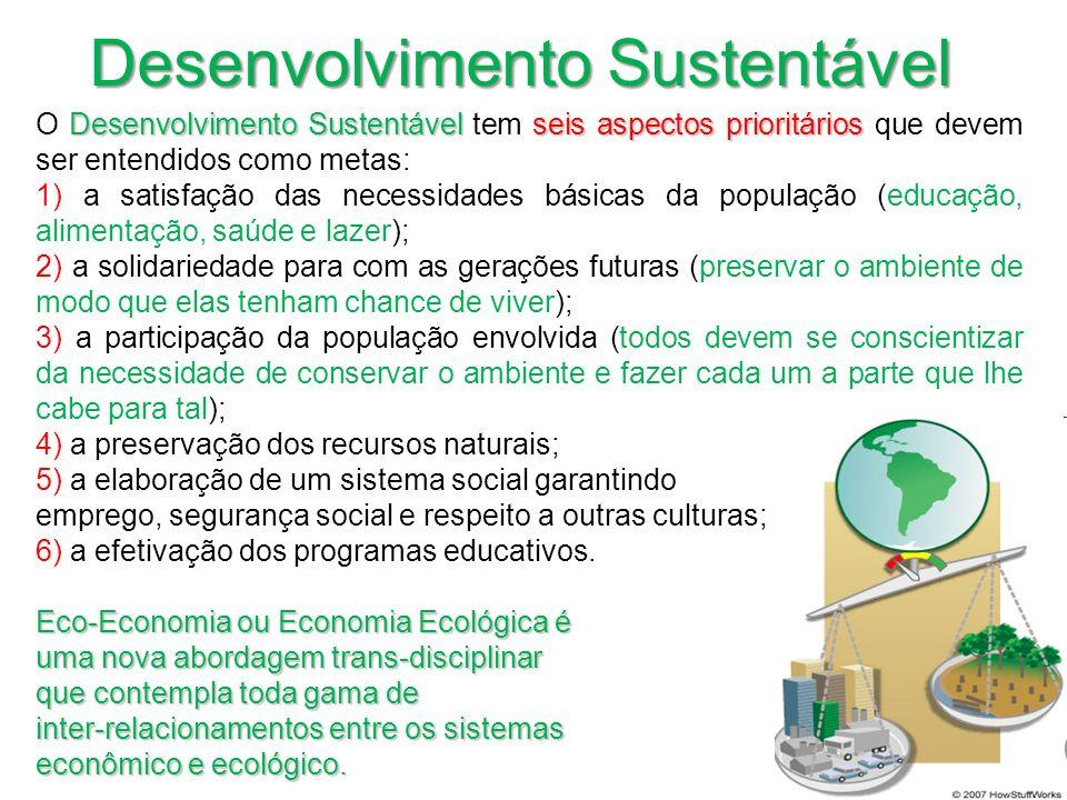 Desenvolvimento Sustentável seis aspectos prioritários O Desenvolvimento Sustentável tem seis aspectos prioritários que devem ser entendidos como meta