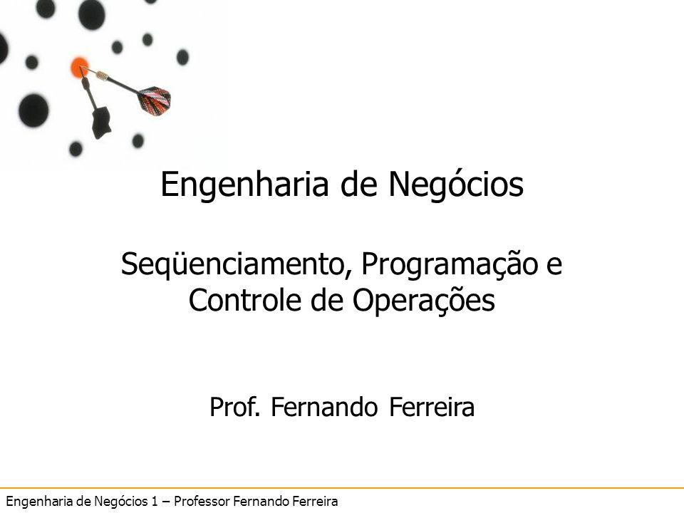 Engenharia de Negócios 1 – Professor Fernando Ferreira 12 SeqüenciamentoSeqüenciamento Engenharia de Negócios Seqüenciamento, Programação e Controle d