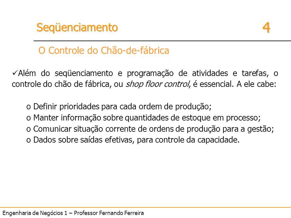 4 SeqüenciamentoSeqüenciamento Engenharia de Negócios 1 – Professor Fernando Ferreira O Controle do Chão-de-fábrica Além do seqüenciamento e programaç