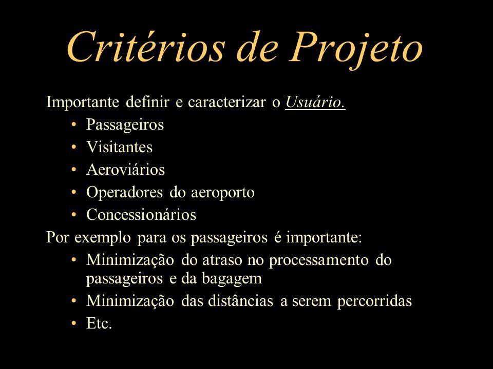Critérios de Projeto Importante definir e caracterizar o Usuário. Passageiros Visitantes Aeroviários Operadores do aeroporto Concessionários Por exemp