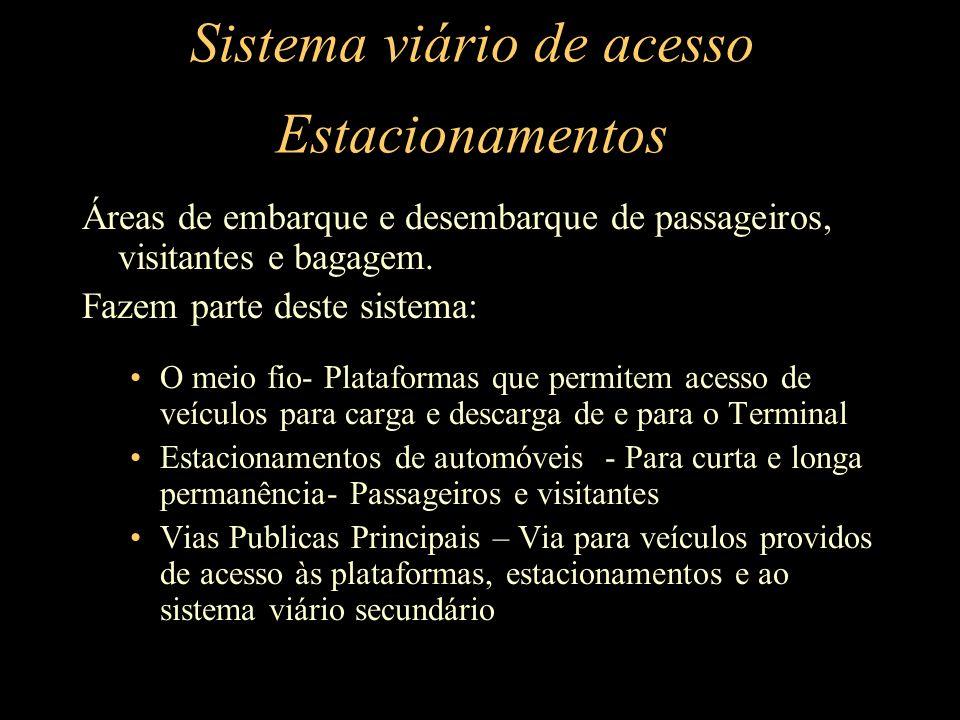 Sistema viário de acesso Estacionamentos Áreas de embarque e desembarque de passageiros, visitantes e bagagem. Fazem parte deste sistema: O meio fio-