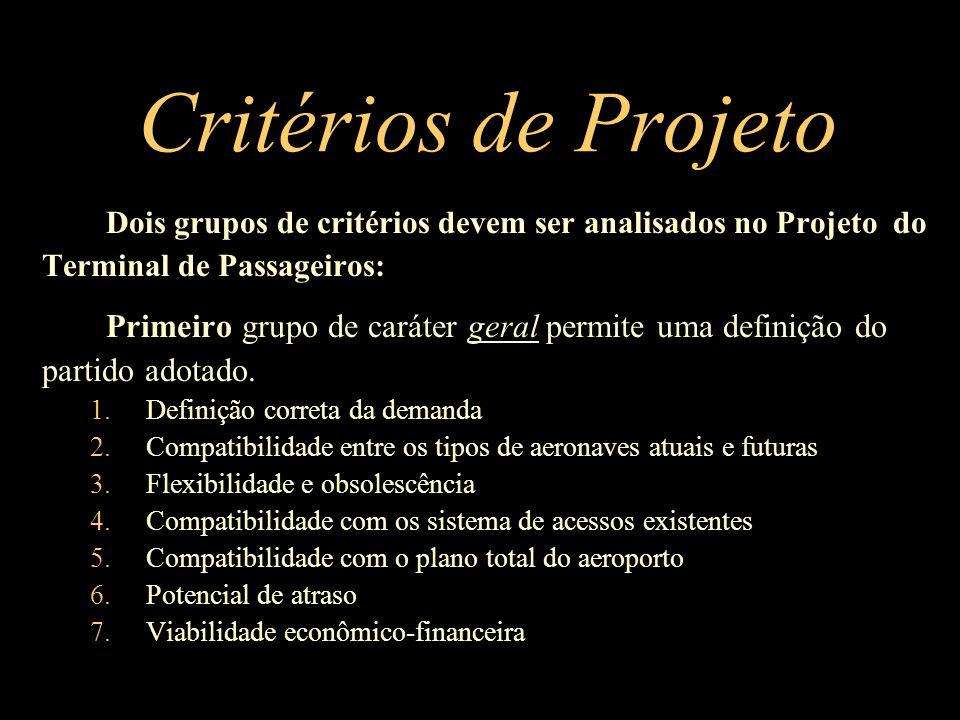 Critérios de Projeto Dois grupos de critérios devem ser analisados no Projeto do Terminal de Passageiros: Primeiro grupo de caráter geral permite uma