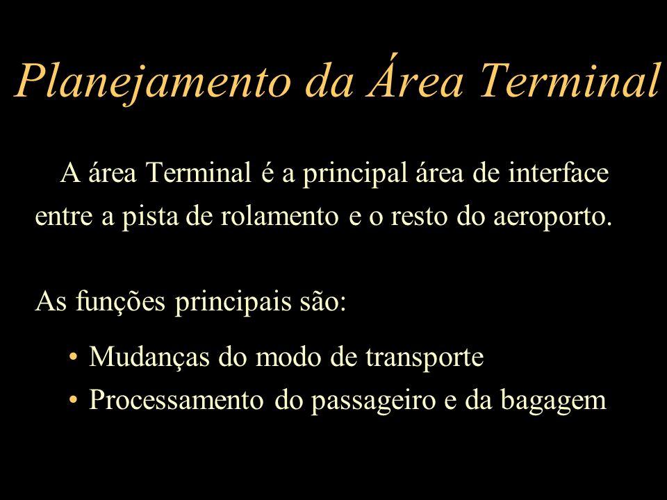 A área Terminal é a principal área de interface entre a pista de rolamento e o resto do aeroporto. As funções principais são: Mudanças do modo de tran
