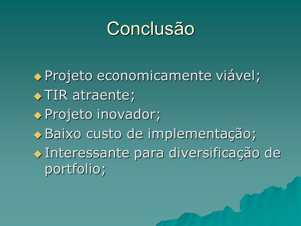 Conclusão Projeto economicamente viável; Projeto economicamente viável; TIR atraente; TIR atraente; Projeto inovador; Projeto inovador; Baixo custo de