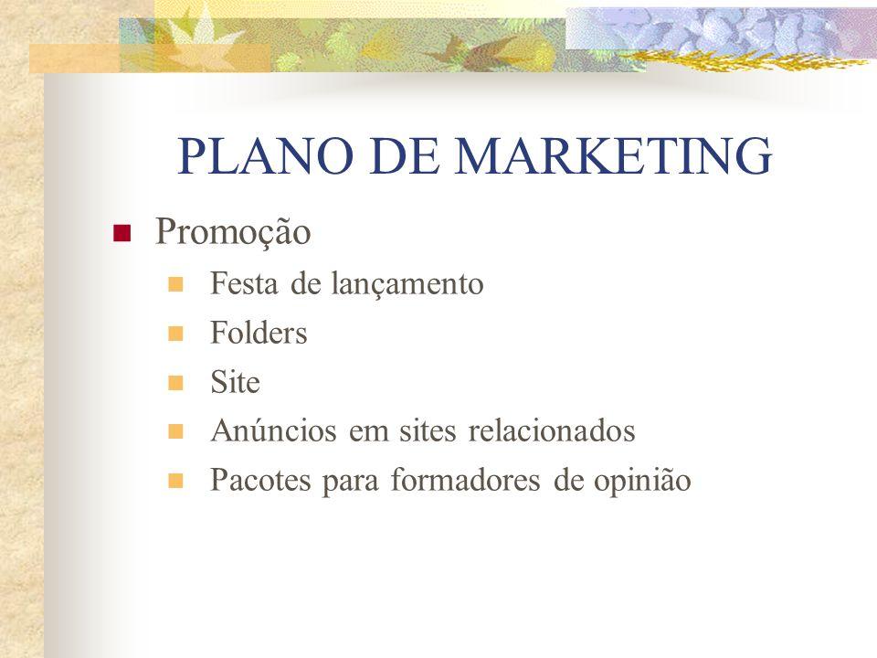 PLANO DE MARKETING Promoção Festa de lançamento Folders Site Anúncios em sites relacionados Pacotes para formadores de opinião