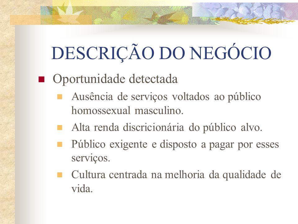DESCRIÇÃO DO NEGÓCIO Oportunidade detectada Ausência de serviços voltados ao público homossexual masculino. Alta renda discricionária do público alvo.