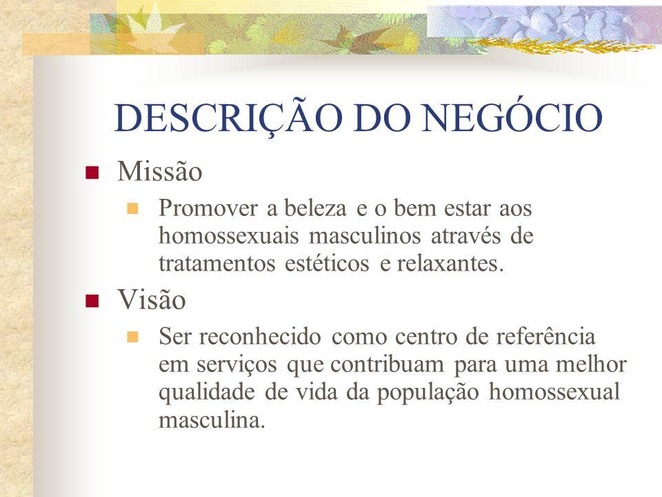 DESCRIÇÃO DO NEGÓCIO Missão Promover a beleza e o bem estar aos homossexuais masculinos através de tratamentos estéticos e relaxantes. Visão Ser recon